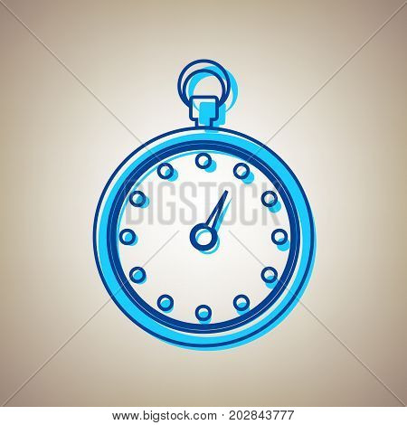 Stopwatch sign illustration. Vector. Sky blue icon with defected blue contour on beige background.
