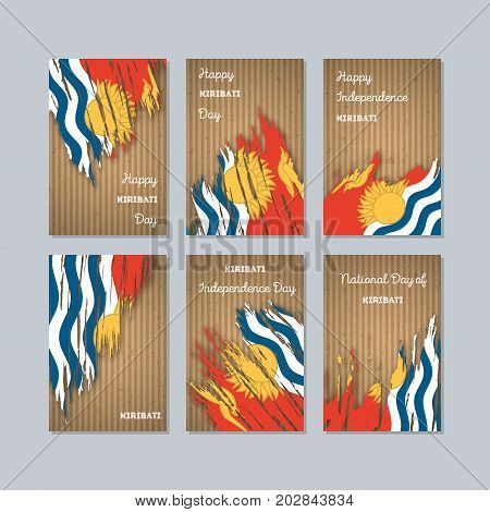 Kiribati Patriotic Cards For National Day. Expressive Brush Stroke In National Flag Colors On Kraft