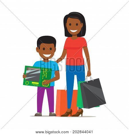 Family out on Shopping. Mother with bags stands beside her son who holds box on white background. Cartoon African family has fun during shopping. Mother and son stand with purchases. Vector illustration.