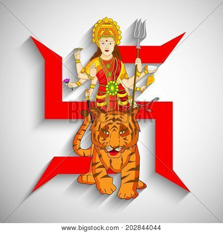 illustration of Hindu Goddess Durga and tiger on Hinduism symbol swastik background with Happy Navratri text on the occasion of hindu festival Navratri