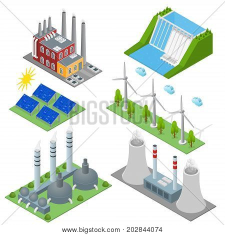 Renewable Resources and Traditional Energy Generation Power Station Different Types Set with Wind Generator and Solar Panels Isometric View. Vector illustration of Stations