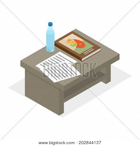 Desktop with bottle of water, book on business with colored diagrama on cover and documentes isolated on white background. Education supplies on office table. Vector illustration of work space.