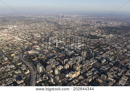 Los Angeles, California, USA - August 7, 2017:  Aerial view of Hollywood, the 101 freeway and downtown LA.