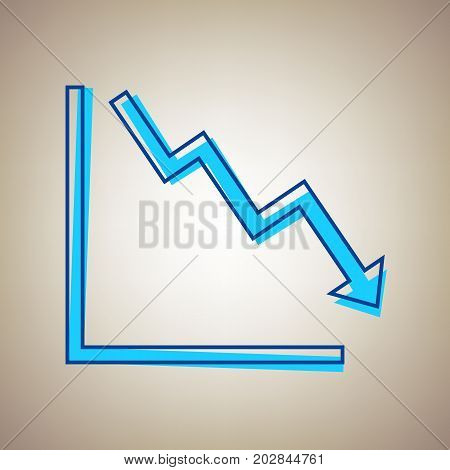 Arrow pointing downwards showing crisis. Vector. Sky blue icon with defected blue contour on beige background.