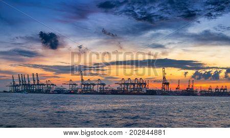 Panorama scene of cargo ship terminal Business transportation.