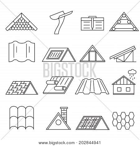 Concept House Roof Construction and Element Thin Line Icon Set for Web and App. Vector illustration of Home Roofs