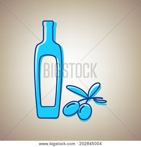 Black olives branch with olive oil bottle sign. Vector. Sky blue icon with defected blue contour on beige background.