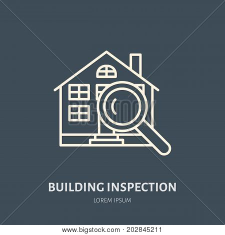 House inspection vector flat line icon. Real estate logo. Illustration of building under glass. Engineering survey service sign.