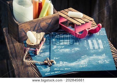 Retro Sledge Preparing For The Winter In Wooden Hut