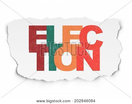 Politics concept: Painted multicolor text Election on Torn Paper background