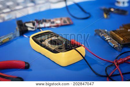Closeup of multimeter electric measure meter
