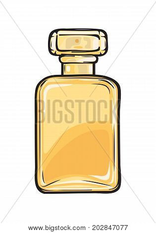 Fashionable perfume in glass yellow flask close-up on background. Luxury fragrance in beautiful bottle. Vector illustration of fashion. Perfumery icon for infographics, websites and app.