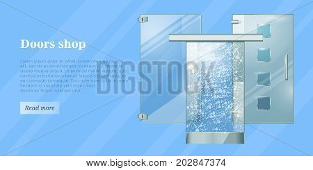 Glass doors conceptual web banner. Glossy sliding and hinged office or boutique transparent doors with shaped handles flat vector illustration. Furniture components store landing page template