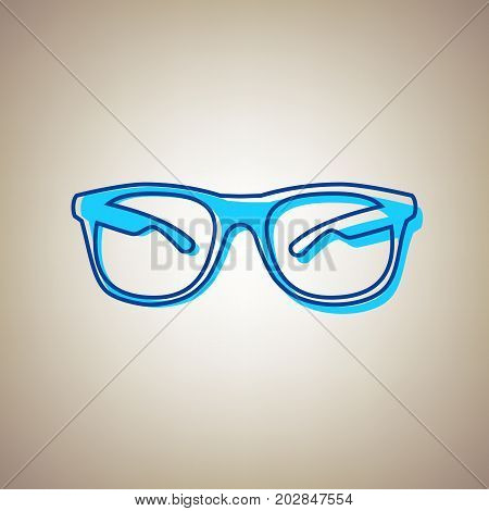 Sunglasses sign illustration. Vector. Sky blue icon with defected blue contour on beige background.
