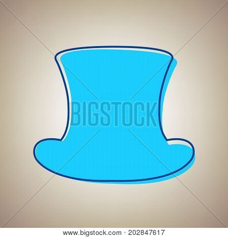 Top hat sign. Vector. Sky blue icon with defected blue contour on beige background.