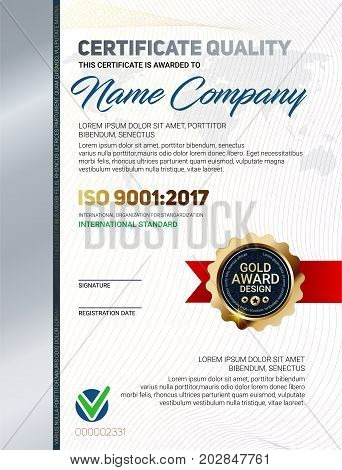 Vector certificate vector photo free trial bigstock vector certificate quality template with luxury line pattern and gold award emblem iso 9001 certified vector yelopaper Gallery