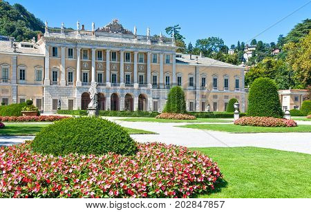 Como Italy - August 30 2010: View of Villa Olmo in the lakefront
