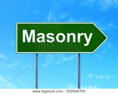Constructing concept: Masonry on green road highway sign, clear blue sky background, 3D rendering