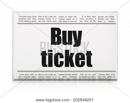 Vacation concept: newspaper headline Buy Ticket on White background, 3D rendering