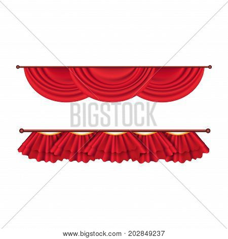 Short ceiling red curtains set. Two theater curtains vector illustration isolated on white background. Luxury scarlet curtains and draperies. Theatre, banquet and concert hall decorations.