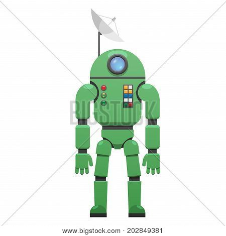 Modern space suit with plate receiver on head isolated on white background. Metal skafander for transcontinental travelling in flat style design. Robot with protective screen vector illustration.