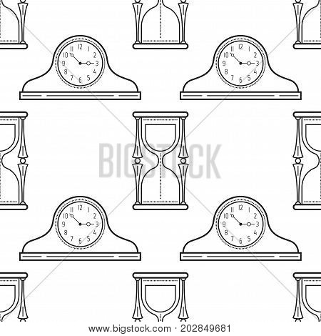 Hourglass and mantel clocks. Black and white seamless pattern for coloring books, pages. Vector illustration.