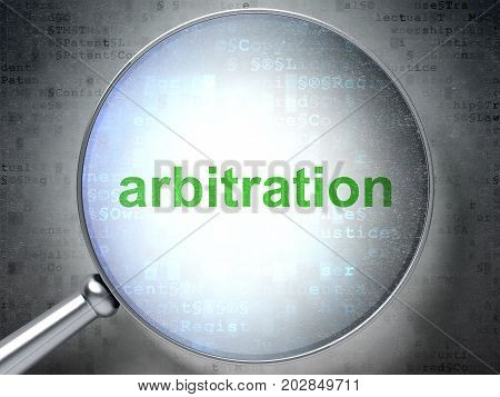 Law concept: magnifying optical glass with words Arbitration on digital background, 3D rendering
