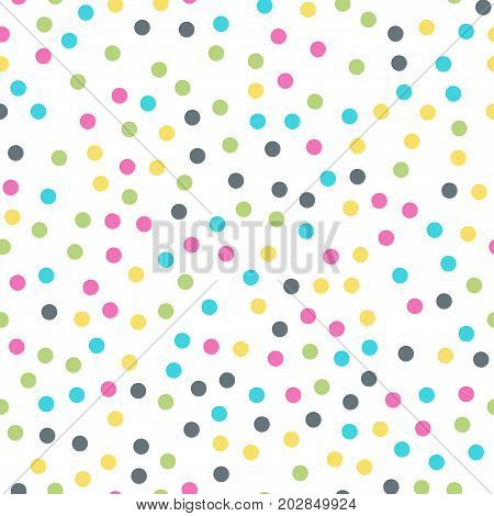 Colorful Polka Dots Seamless Pattern On White 10 Background. Outstanding Classic Colorful Polka Dots
