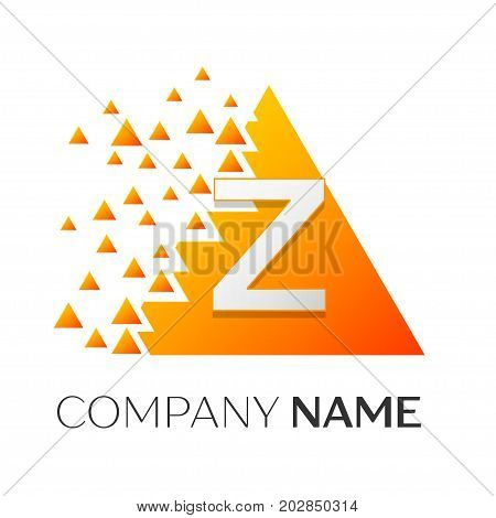 Realistic letter Z vector logo symbol in the colorful triangle with shattered blocks on white background. Vector template for your design