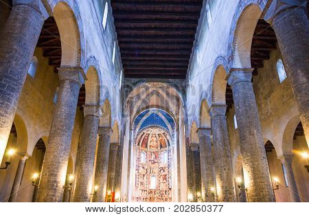 Como Italy - August 30 2010: The nave of the St Abbondio Basilica