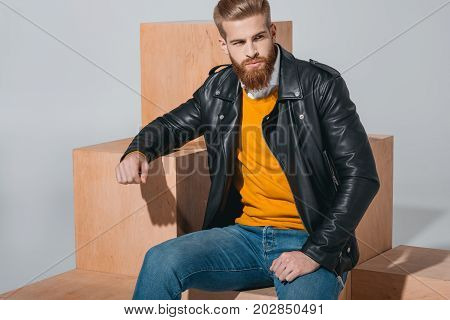 Fashionable Man In Leather Jacket