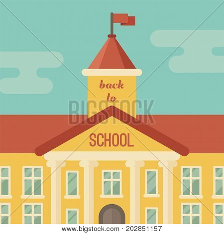 School building closeup with text Back to school flat illustration