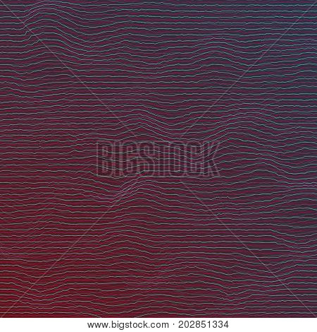 Illustration of Digital Sound Wave Distortion. Vector Equalizer Frequency Glitch Effect