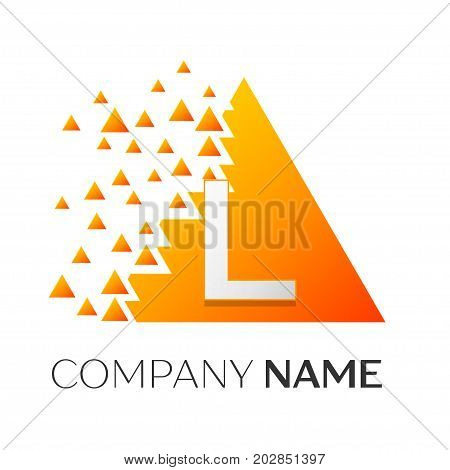 Realistic letter L vector logo symbol in the colorful triangle with shattered blocks on white background. Vector template for your design