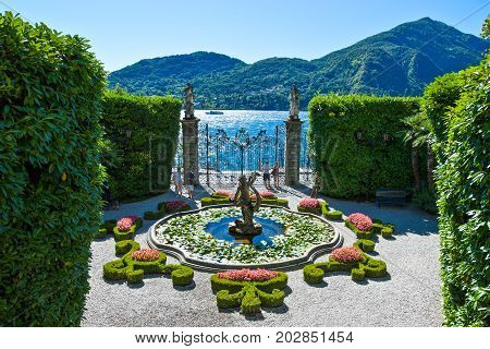 Tremezzo Italy - August 31 2010: The Villa Carlotta garden