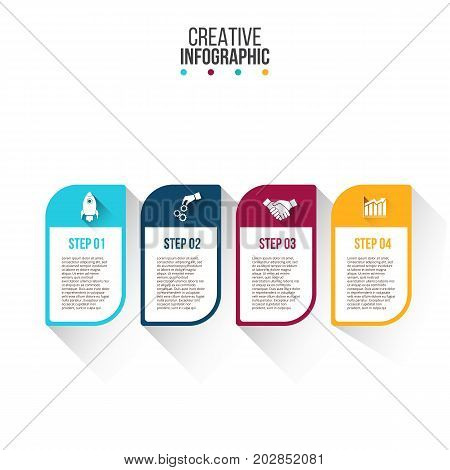 Business data visualization. Process chart. Abstract elements of graph, diagram with 4 steps, options, parts or processes. Vector business template for presentation. Creative concept for infographic.