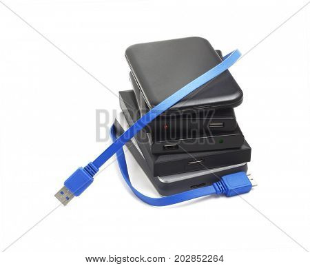 Computer Hard Disks and USB Cable on White Background