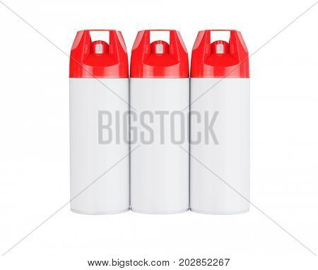 Row of Three Spray Cans on White Background