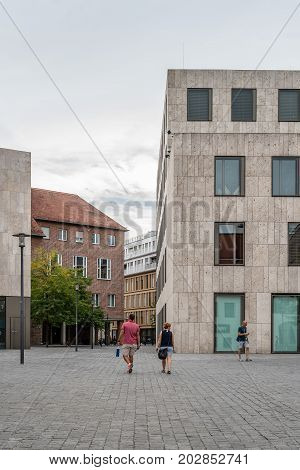 Munich, Germany - August 3, 2017: Synagogue Ohel Jakob and Jewish Museum in Munich  located at Sankt-Jakobs-Platz a cloudy day of summer.