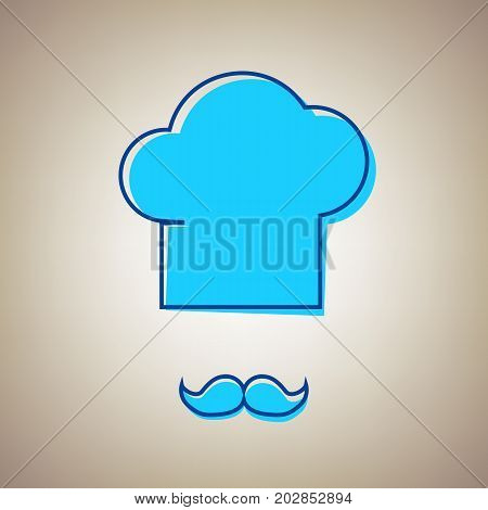 Chef hat and moustache sign. Vector. Sky blue icon with defected blue contour on beige background.