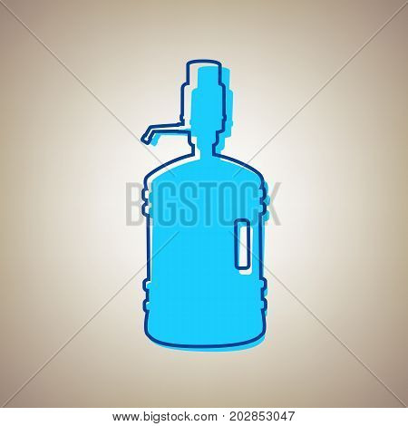 Plastic bottle silhouette with water and siphon. Vector. Sky blue icon with defected blue contour on beige background.
