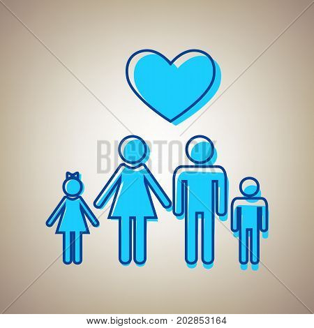 Family symbol with heart. Husband and wife are kept children's hands. Love. Vector. Sky blue icon with defected blue contour on beige background.