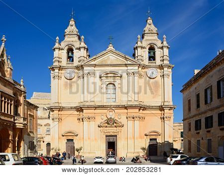 MDINA, MALTA - MARCH 29, 2017 - St Pauls Cathedral also known as Mdina Cathedral Mdina Malta Europe, March 29, 2017.
