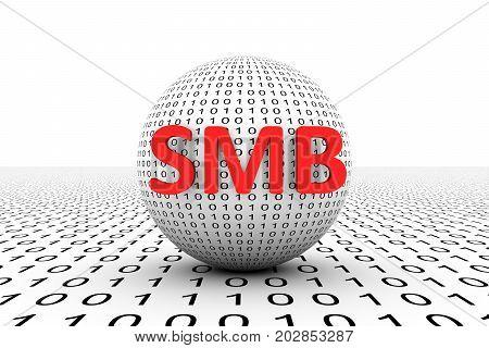 SMB conceptual sphere binary code 3d illustration