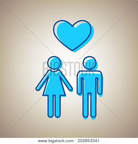 Family symbol with heart. Husband and wife are kept each other's hands. Love. Vector. Sky blue icon with defected blue contour on beige background.