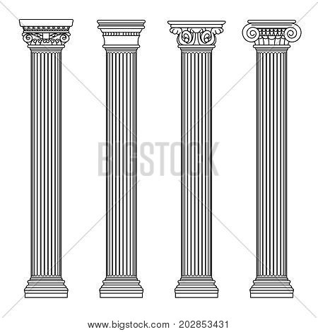 Greek and roman architecture classic stone colomns. Outline vector illustration. Architecture column and pillar ancient