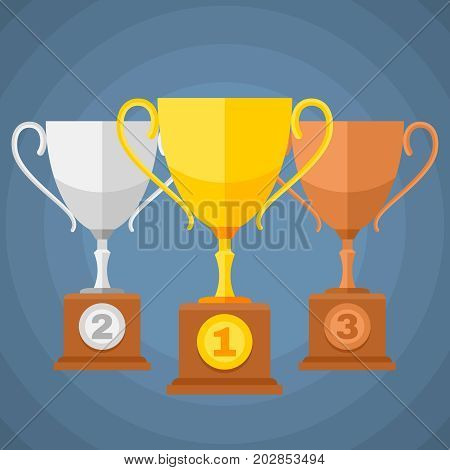 Gold, silver and bronze winners sports trophy cups. Vector classification icons. Set of trophy cups for award illustration