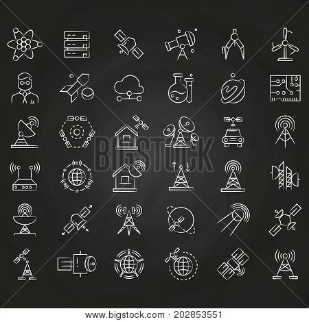 Science and orbit communication thin line icons on chalkboard. Rocket and satellite, antenna and router, vector illustration