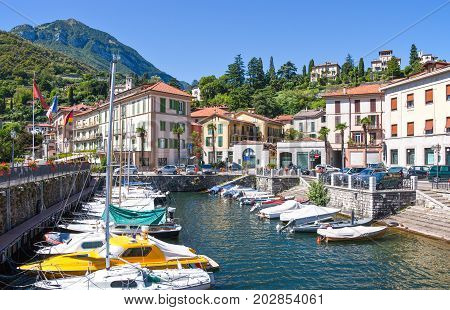 Menaggio Italy - August 31 2010: The harbour on the Como lake
