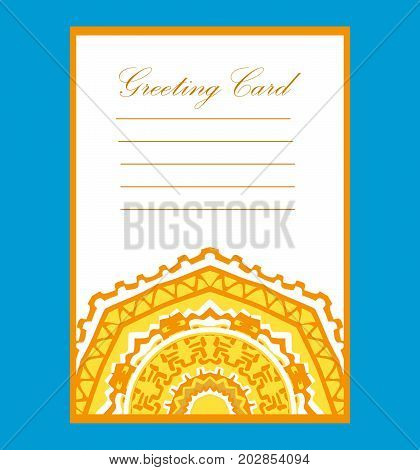 Greeting card on a wedding or a birthday.Festive card.Floral mandala and ornaments.Oriental design Asian,Arabic Indian motifssize A4.Vintage template card  islam and ottoman turkish style for brochure